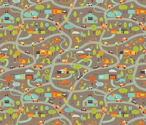 Hero-saurus Town (dirt) fabric by jennartdesigns on Spoonflower - custom fabric