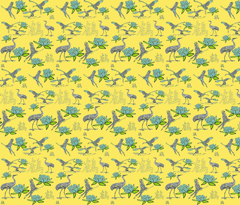 THE CRANE fabric by bluevelvet on Spoonflower - custom fabric