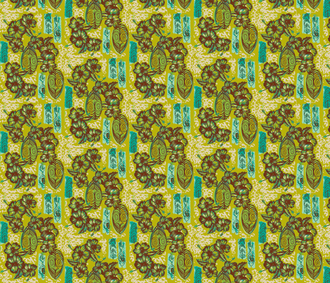 Honiara Hibiscus in sprouted fern fabric by sophista-tiki_by_dawn_frasier on Spoonflower - custom fabric