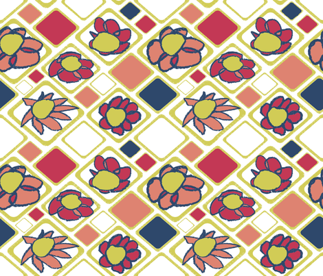 Matisse Floral Grid fabric by mylittleartistsstudio on Spoonflower - custom fabric