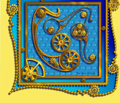 steampunk paisley blue 22x22 scarf fabric by artgarage on Spoonflower - custom fabric