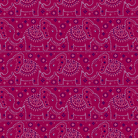 Parading Elephants - Raspberry fabric by siya on Spoonflower - custom fabric