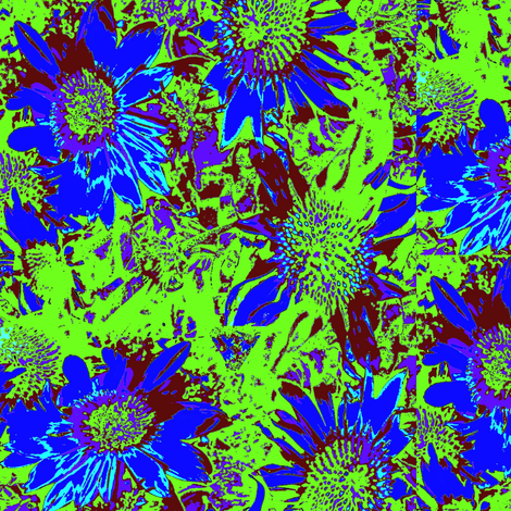 blue flowers with green background fabric by dk_designs on Spoonflower - custom fabric