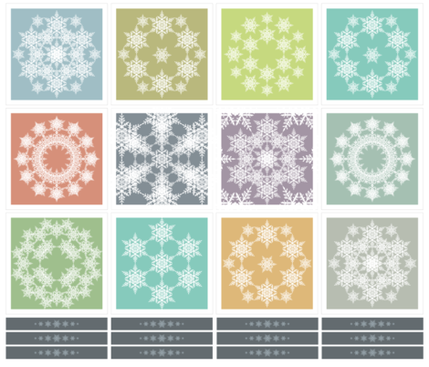 Snow flake coctail napkins fabric by snostorm on Spoonflower - custom fabric