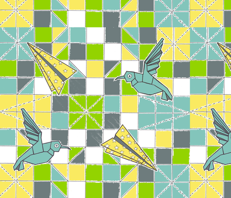 origami_patchwork_colour fabric by lahib on Spoonflower - custom fabric