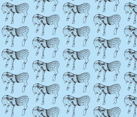 Steed in blue fabric by suebee on Spoonflower - custom fabric