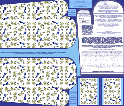 Blueberries On Vine Oven Mitt Pattern and Ornament Pattern plus Instructions Piece Pattern on Fat Quarter by Kristie Hubler fabric by fabricatedframes on Spoonflower - custom fabric