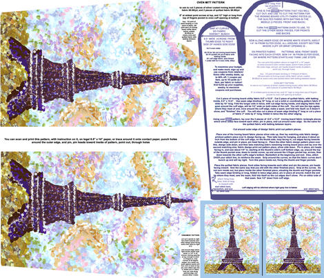 Eiffel Tower Pointillism Oven Mitt Pattern With Instructions Piece Pattern And Ornament Pattern on Fat Quarter by Kristie Hubler fabric by fabricatedframes on Spoonflower - custom fabric