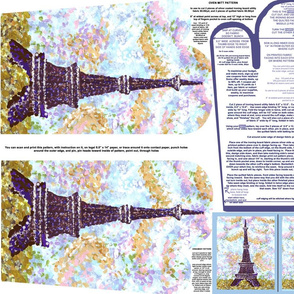 Eiffel Tower Pointillism Oven Mitt Pattern With Instructions Piece Pattern And Ornament Pattern on Fat Quarter by Kristie Hubler