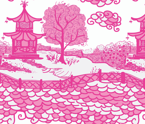 Cloud_Pagoda Pinks fabric by danika_herrick on Spoonflower - custom fabric