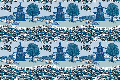 Cloud_Pagoda Fretwork- Multi Blue/ Green fabric by danikaherrick on Spoonflower - custom fabric