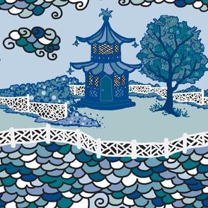 Cloud_Pagoda Fretwork- Multi Blue/ Green