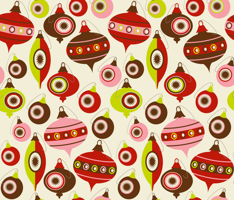 Vintage Christmas Ornaments ~ peppermint, lime and bark fabric by retrorudolphs on Spoonflower - custom fabric