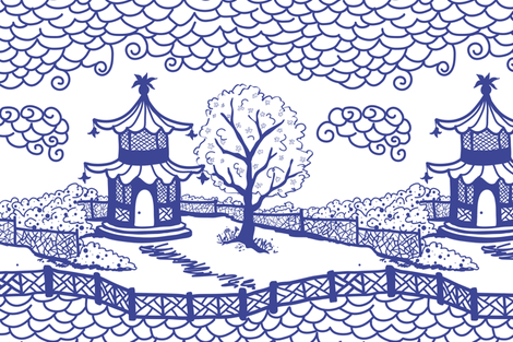 Cloud_Pagoda Cobalt fabric by danika_herrick on Spoonflower - custom fabric