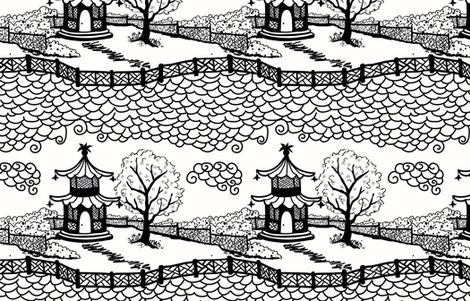 Cloud_Pagoda black on white fabric by danikaherrick on Spoonflower - custom fabric
