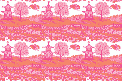 Cloud_Pagoda-orange/pink fabric by danikaherrick on Spoonflower - custom fabric