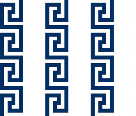 greek_key_stripe navy fabric by danika_herrick on Spoonflower - custom fabric