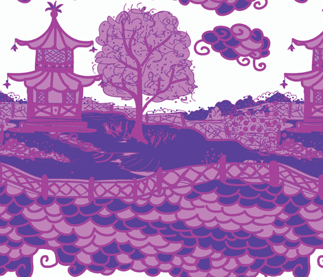 Cloud_Pagoda Lilacs fabric by danika_herrick on Spoonflower - custom fabric
