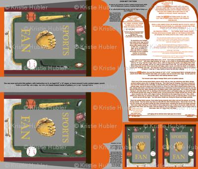 Sports Fan Oven Mitt Pattern  plus Instructions on Piece Pattern plus Ornament Pattern Fat Quarter by Kristie Hubler