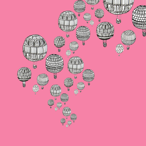 balloons in pink fabric by marimuc on Spoonflower - custom fabric