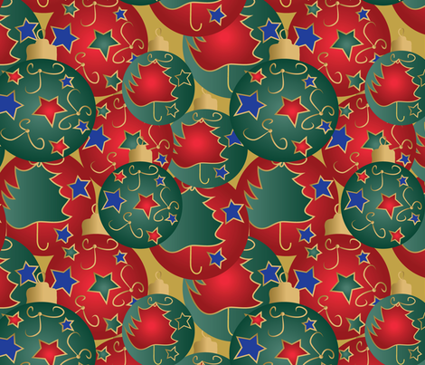 Christmas baubles on yellow fabric by kociara on Spoonflower - custom fabric