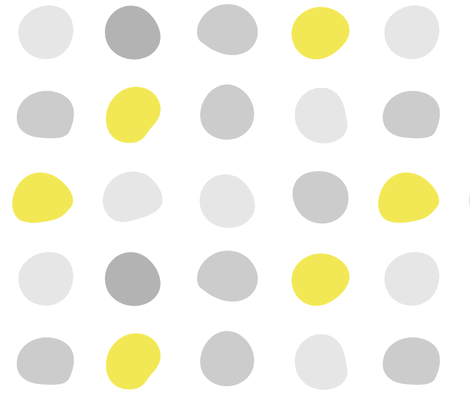Mod Gray Yellow Dots fabric - wren_leyland - Spoonflower