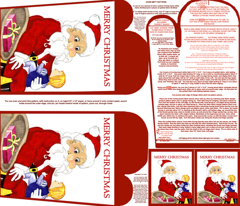 Merry Christmas Santa And Child Red Oven Mitt Pattern and Ornament Pattern with Instructions on Piece Pattern Fat Quarter by Kristie Hubler fabric by fabricatedframes on Spoonflower - custom fabric