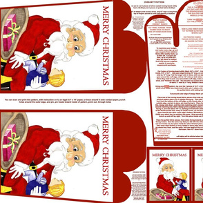 Merry Christmas Santa And Child Red Oven Mitt Pattern and Ornament Pattern with Instructions on Piece Pattern Fat Quarter by Kristie Hubler