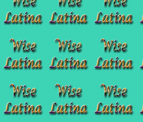 Wise Latina aqua fabric by technorican on Spoonflower - custom fabric