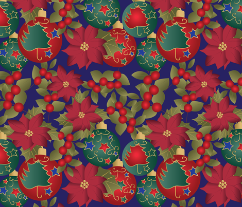 Christmas mix on blue fabric by kociara on Spoonflower - custom fabric