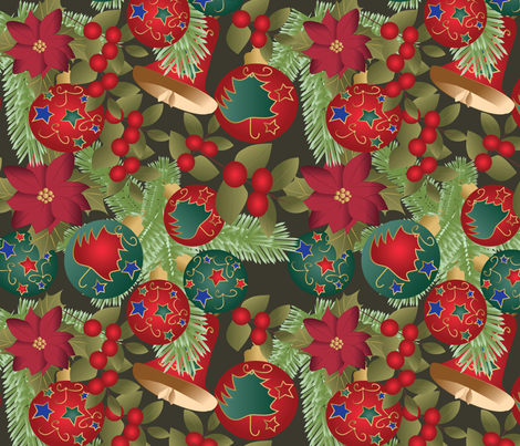 Christmas mix with fir fabric by kociara on Spoonflower - custom fabric