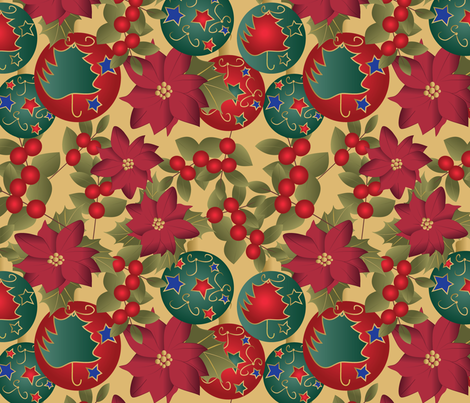 Christmas mix on yellow fabric by kociara on Spoonflower - custom fabric