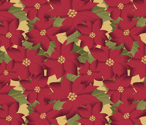 Poinsettia on yellow fabric by kociara on Spoonflower - custom fabric