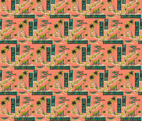 Tapa Islands in Coral Sea fabric by sophista-tiki_by_dawn_frasier on Spoonflower - custom fabric