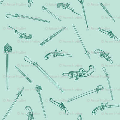 historical weapons spread teal