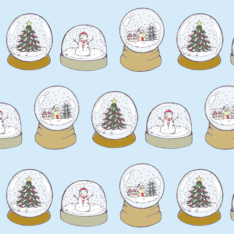 christmas snowglobes fabric by rutherbrad on Spoonflower - custom fabric