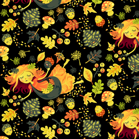 Autumn Fairy in black fabric by irrimiri on Spoonflower - custom fabric