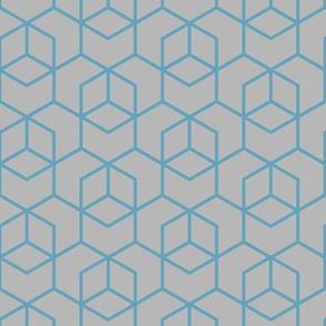 Hexagon Trellis - blue on grey