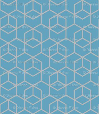 Small hexagon trellis - grey on blue