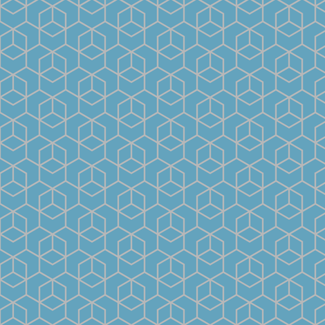 Small hexagon trellis - grey on blue fabric by little_fish on Spoonflower - custom fabric