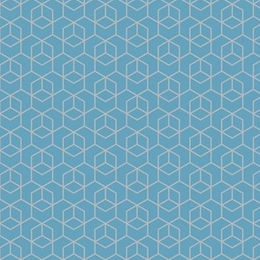 Small hexagon trellis - grey on blue
