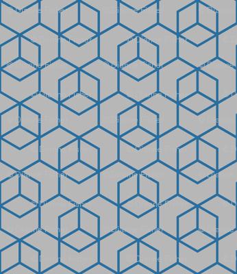 Hexagon trellis - dark blue on grey