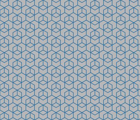 Hexagon trellis - dark blue on grey fabric by little_fish on Spoonflower - custom fabric