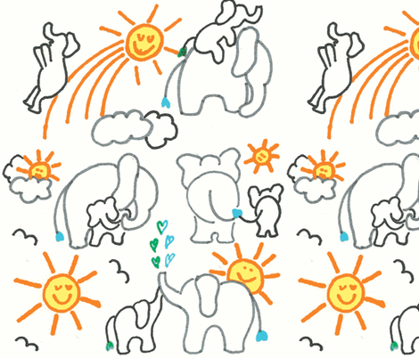 LARGE SCALE You Are My Sunshine Elephants in White  fabric by kbexquisites on Spoonflower - custom fabric