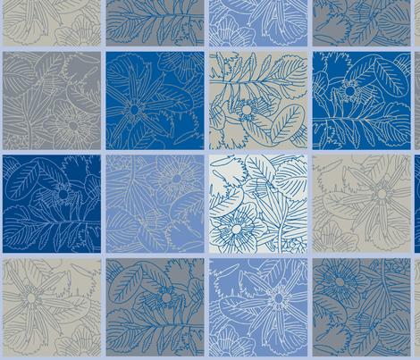 cocktail-napkins-set-linen-blue fabric by owlandchickadee on Spoonflower - custom fabric
