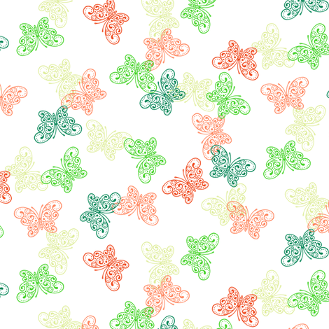 Small Moss Garden Butterflies fabric by siya on Spoonflower - custom fabric