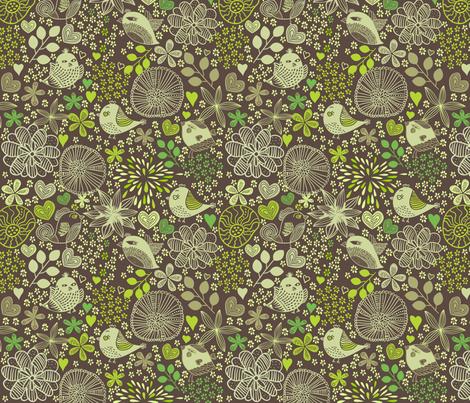 Vector doodle birds and flowers fabric by anastasiia-ku on Spoonflower - custom fabric
