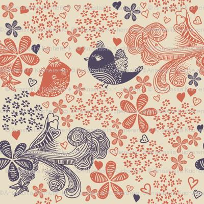cute doodle birds