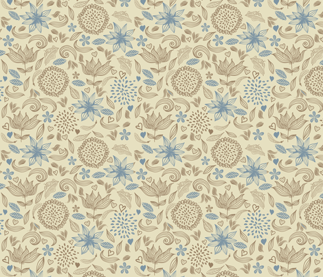 doodle vintage flowers fabric by anastasiia-ku on Spoonflower - custom fabric