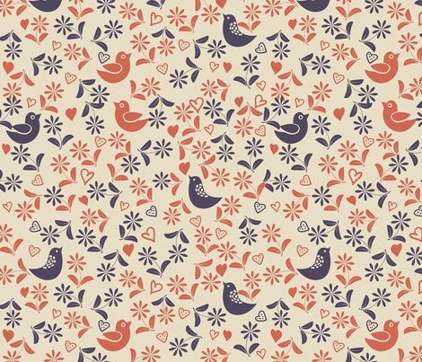 birds and flowers fabric by anastasiia-ku on Spoonflower - custom fabric